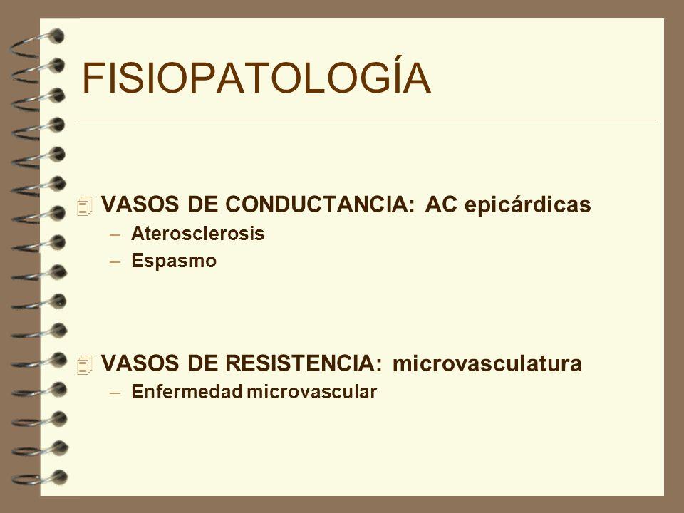 4 VASOS DE CONDUCTANCIA: AC epicárdicas –Aterosclerosis –Espasmo 4 VASOS DE RESISTENCIA: microvasculatura –Enfermedad microvascular