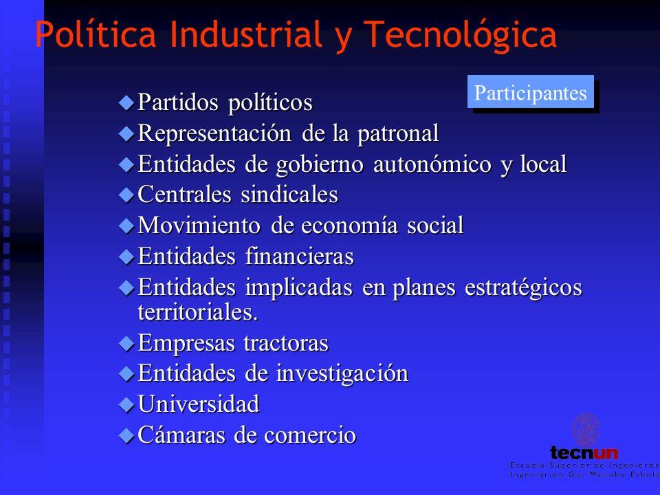 Política Industrial y Tecnológica u Partidos políticos u Representación de la patronal u Entidades de gobierno autonómico y local u Centrales sindical