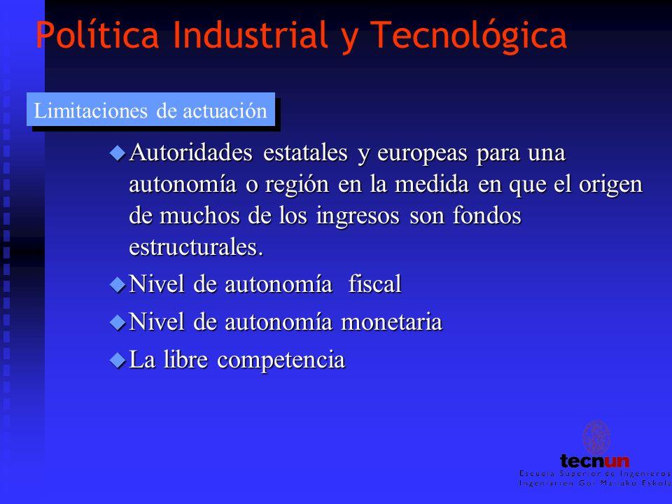 Política Industrial y Tecnológica u Autoridades estatales y europeas para una autonomía o región en la medida en que el origen de muchos de los ingres