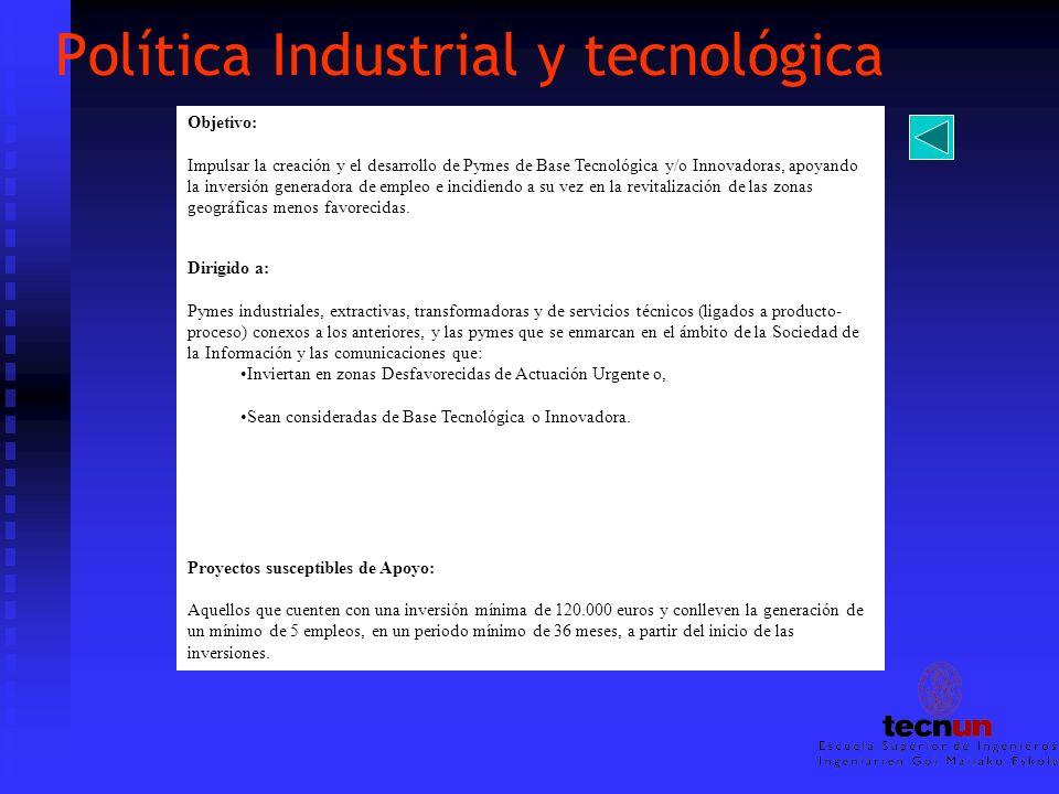 Política Industrial y tecnológica Objetivo: Impulsar la creación y el desarrollo de Pymes de Base Tecnológica y/o Innovadoras, apoyando la inversión g
