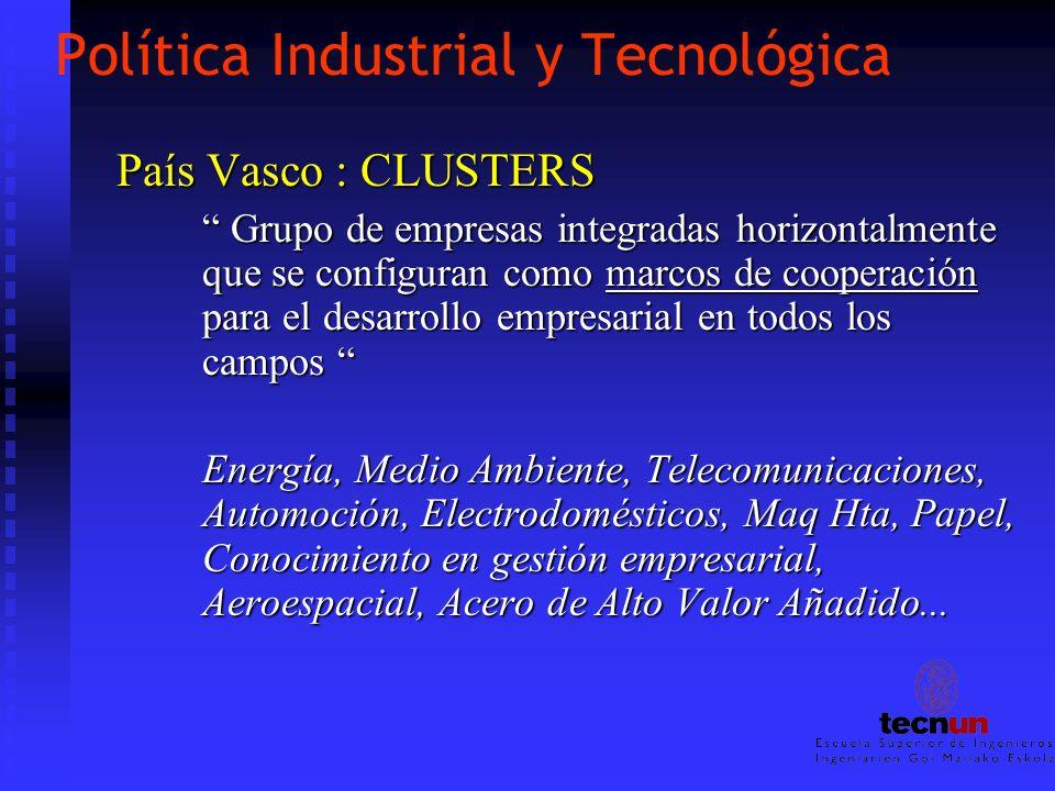 Política Industrial y Tecnológica País Vasco : CLUSTERS Grupo de empresas integradas horizontalmente que se configuran como marcos de cooperación para