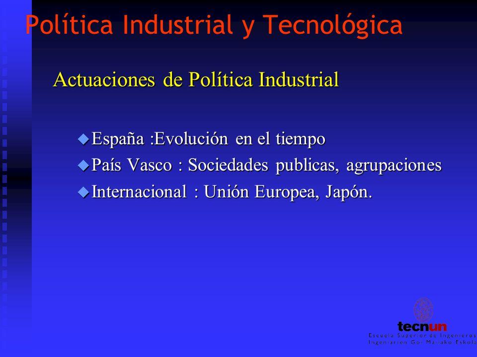 Política Industrial y Tecnológica Actuaciones de Política Industrial u España :Evolución en el tiempo u País Vasco : Sociedades publicas, agrupaciones