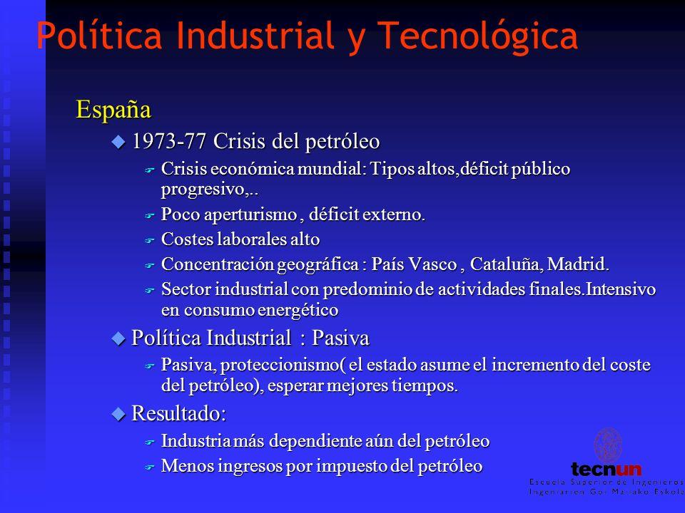 Política Industrial y Tecnológica España u 1973-77 Crisis del petróleo F Crisis económica mundial: Tipos altos,déficit público progresivo,.. F Poco ap