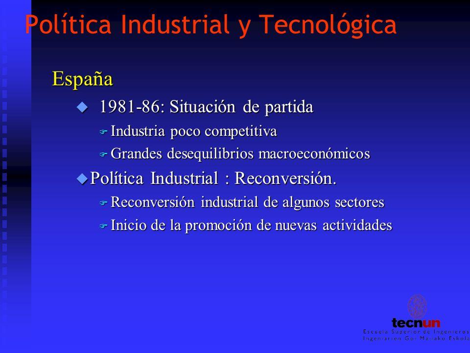 Política Industrial y Tecnológica España u 1981-86: Situación de partida F Industria poco competitiva F Grandes desequilibrios macroeconómicos u Polít