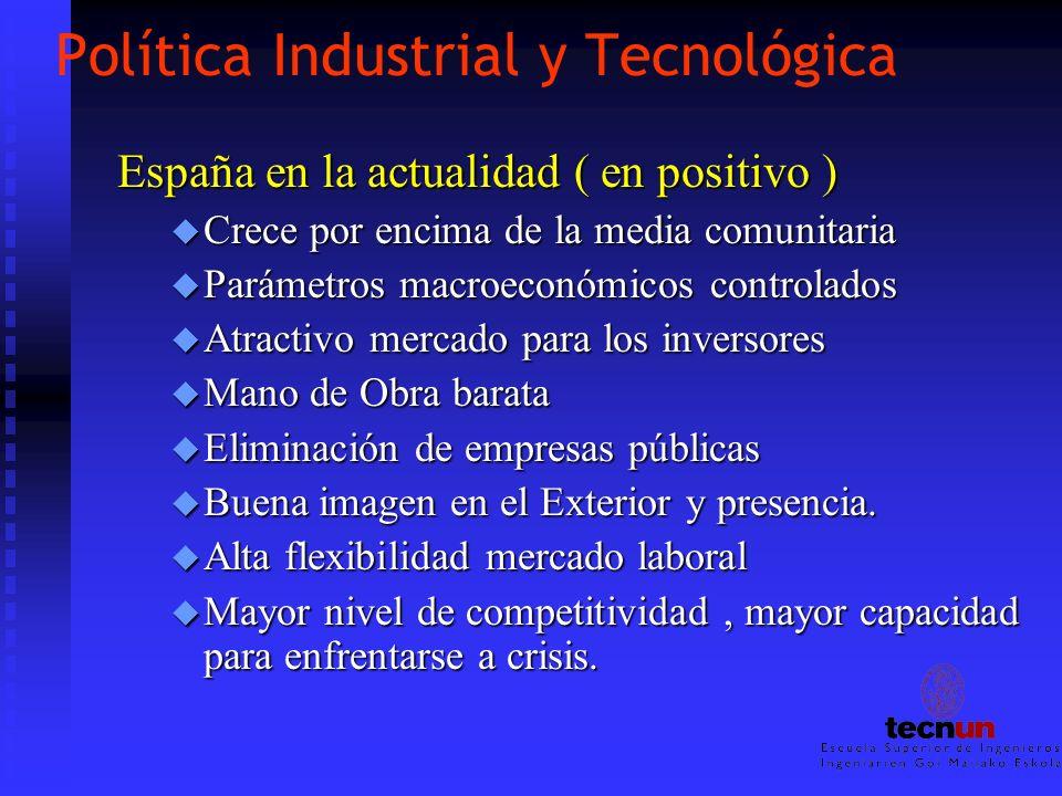 Política Industrial y Tecnológica España en la actualidad ( en positivo ) u Crece por encima de la media comunitaria u Parámetros macroeconómicos cont