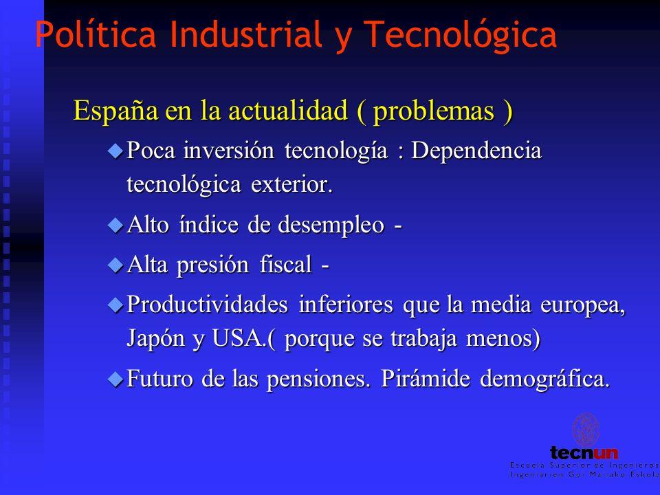 Política Industrial y Tecnológica España en la actualidad ( problemas ) u Poca inversión tecnología : Dependencia tecnológica exterior. u Alto índice