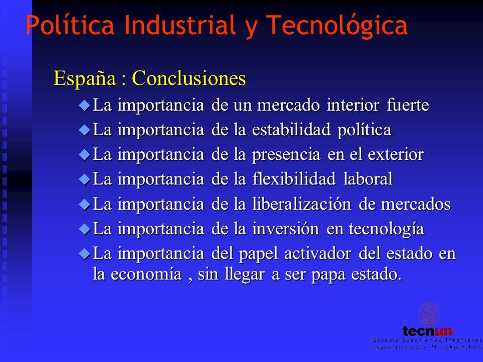 Política Industrial y Tecnológica España : Conclusiones u La importancia de un mercado interior fuerte u La importancia de la estabilidad política u L