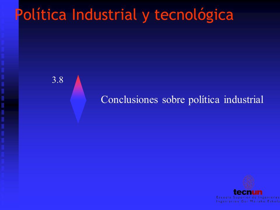 Política Industrial y tecnológica 3.8 Conclusiones sobre política industrial