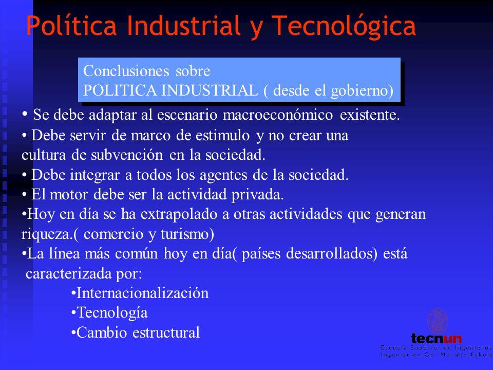 Política Industrial y Tecnológica Conclusiones sobre POLITICA INDUSTRIAL ( desde el gobierno) Conclusiones sobre POLITICA INDUSTRIAL ( desde el gobier