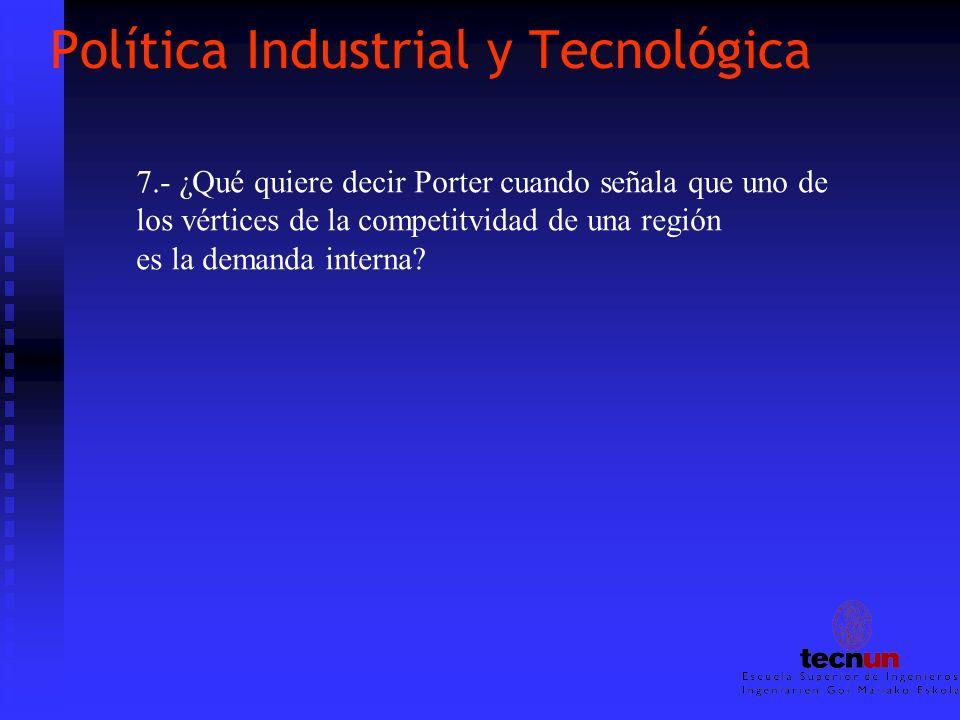 Política Industrial y Tecnológica 7.- ¿Qué quiere decir Porter cuando señala que uno de los vértices de la competitvidad de una región es la demanda i