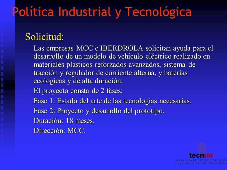 Política Industrial y Tecnológica Solicitud: Las empresas MCC e IBERDROLA solicitan ayuda para el desarrollo de un modelo de vehículo eléctrico realiz