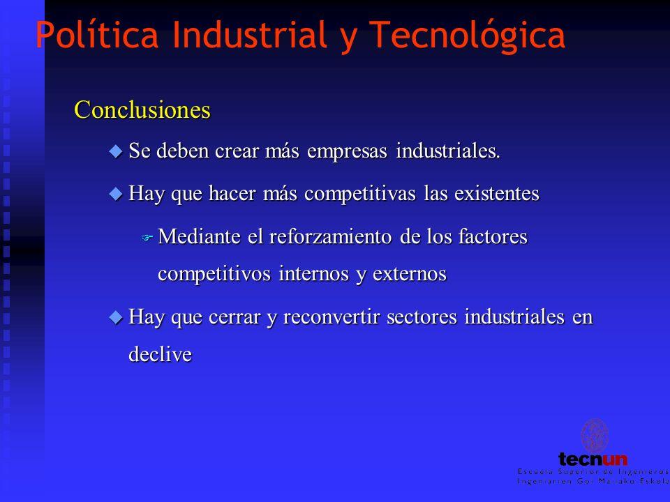 Política Industrial y Tecnológica Conclusiones u Se deben crear más empresas industriales. u Hay que hacer más competitivas las existentes F Mediante