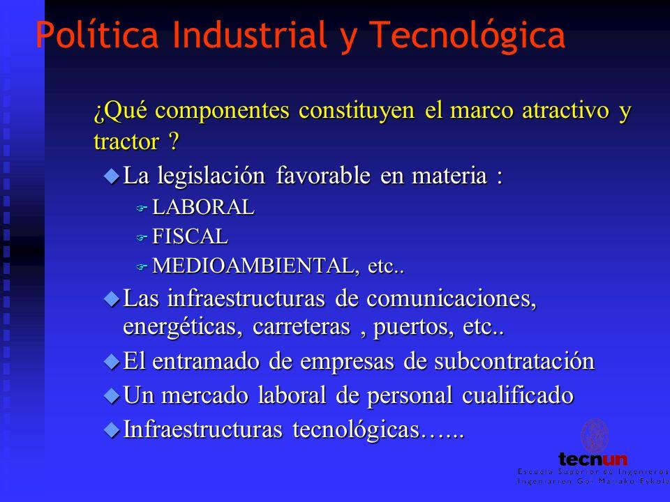 Política Industrial y Tecnológica ¿Qué componentes constituyen el marco atractivo y tractor ? u La legislación favorable en materia : F LABORAL F FISC