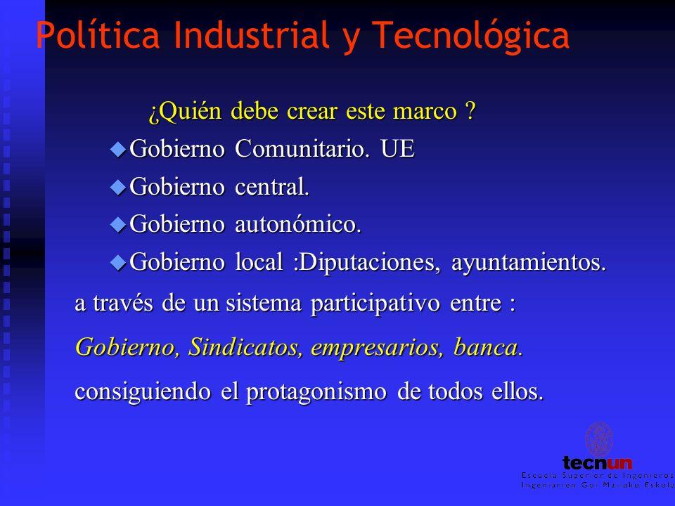 Política Industrial y Tecnológica ¿Quién debe crear este marco ? ¿Quién debe crear este marco ? u Gobierno Comunitario. UE u Gobierno central. u Gobie