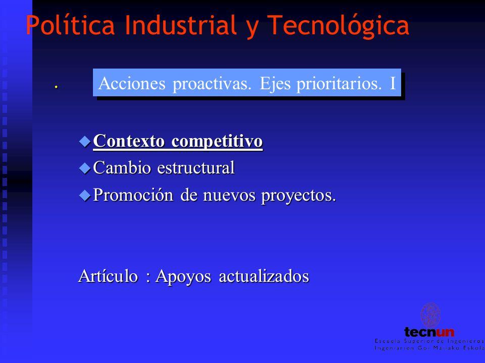 Política Industrial y Tecnológica. u Contexto competitivo u Cambio estructural u Promoción de nuevos proyectos. Artículo : Apoyos actualizados Accione