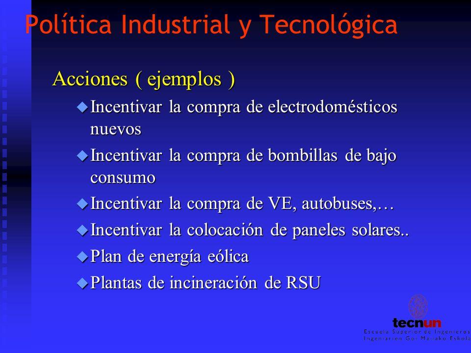 Política Industrial y Tecnológica Acciones ( ejemplos ) u Incentivar la compra de electrodomésticos nuevos u Incentivar la compra de bombillas de bajo