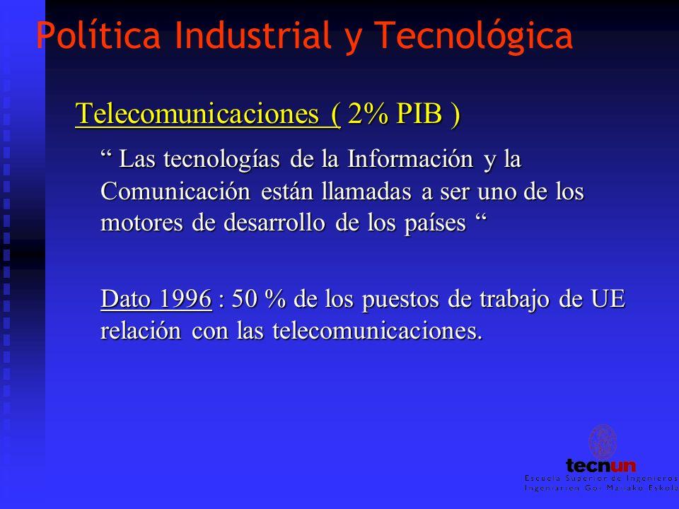 Política Industrial y Tecnológica Telecomunicaciones ( 2% PIB ) Las tecnologías de la Información y la Comunicación están llamadas a ser uno de los mo