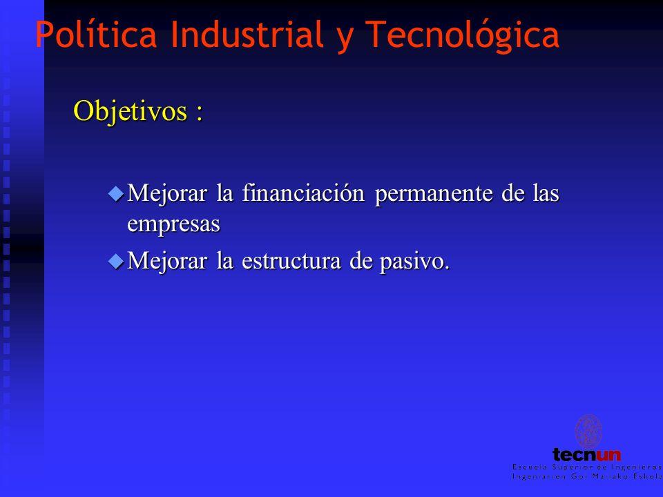 Política Industrial y Tecnológica Objetivos : u Mejorar la financiación permanente de las empresas u Mejorar la estructura de pasivo.