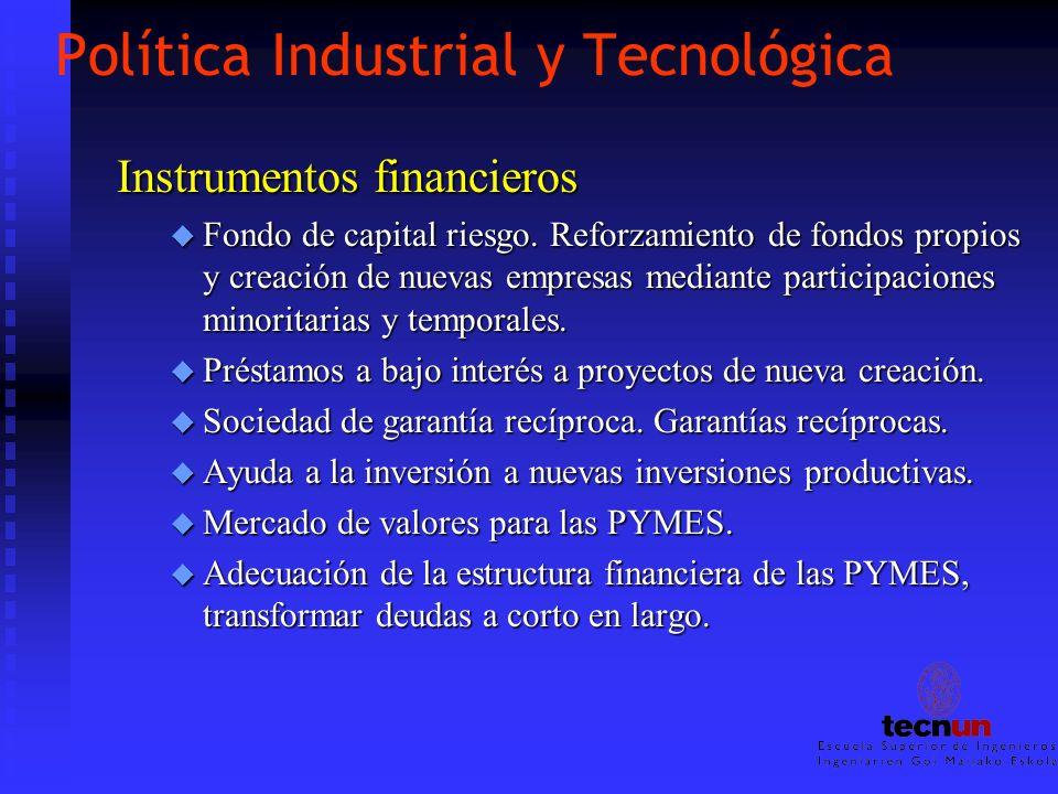 Política Industrial y Tecnológica Instrumentos financieros u Fondo de capital riesgo. Reforzamiento de fondos propios y creación de nuevas empresas me