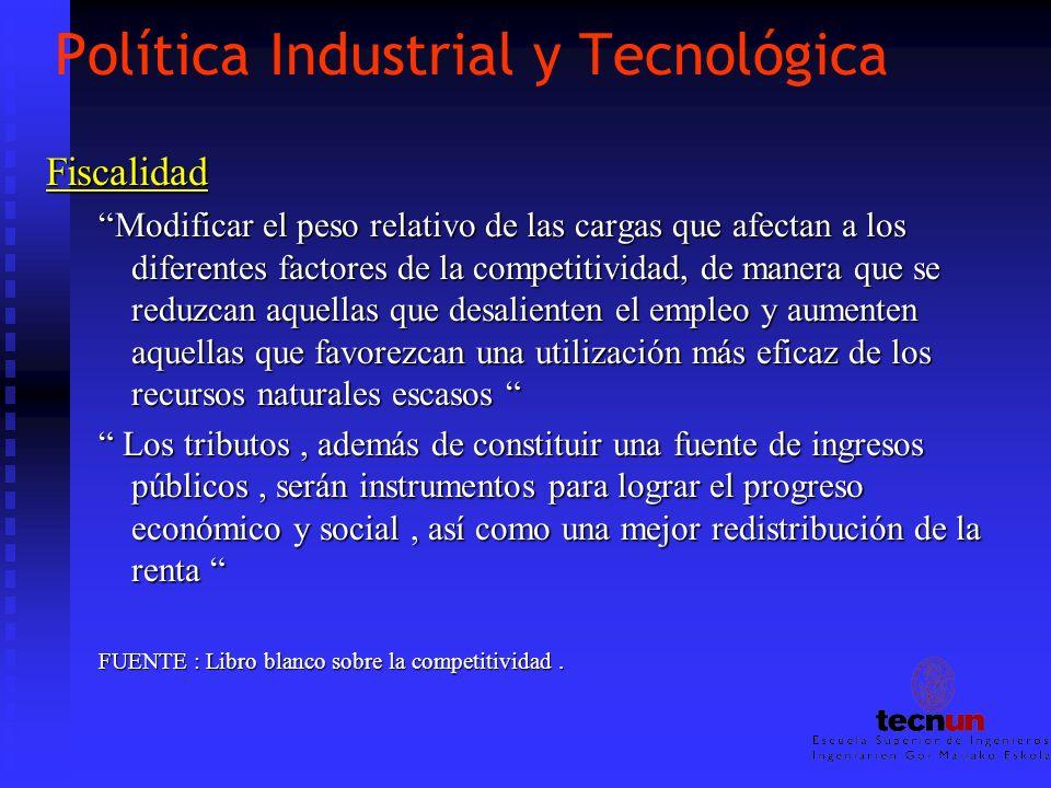 Política Industrial y Tecnológica Fiscalidad Modificar el peso relativo de las cargas que afectan a los diferentes factores de la competitividad, de m
