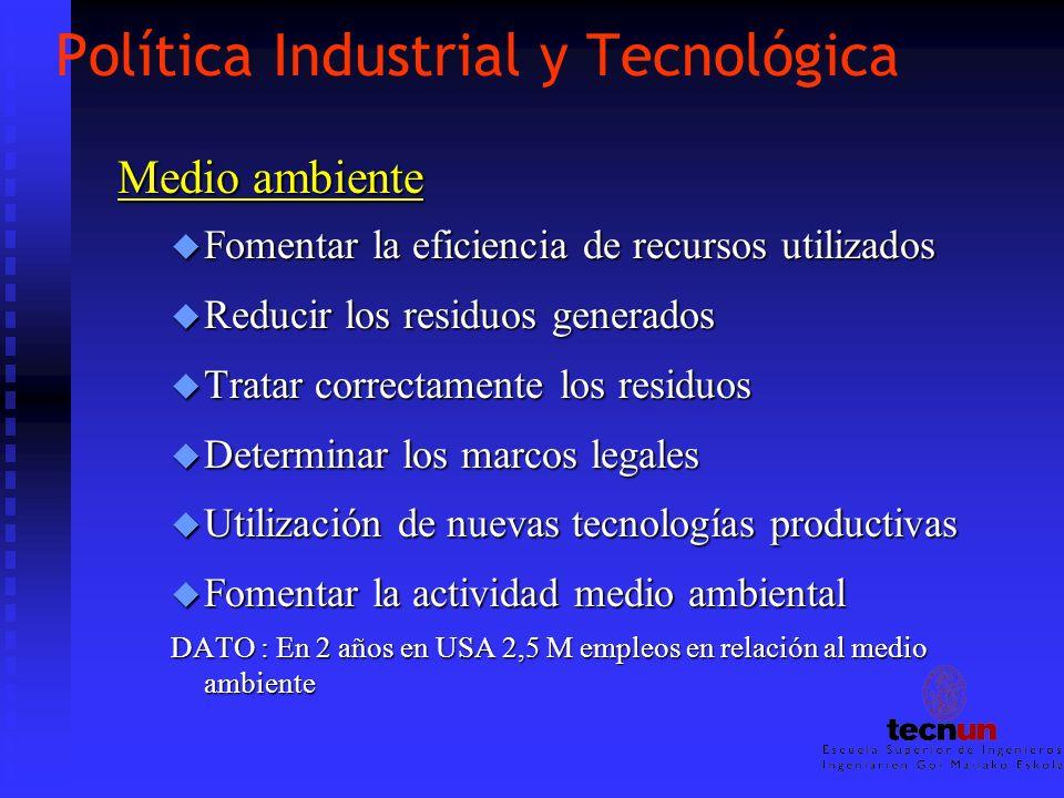 Política Industrial y Tecnológica Medio ambiente u Fomentar la eficiencia de recursos utilizados u Reducir los residuos generados u Tratar correctamen
