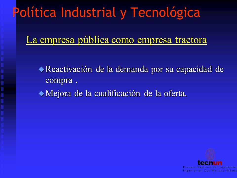 Política Industrial y Tecnológica La empresa pública como empresa tractora u Reactivación de la demanda por su capacidad de compra. u Mejora de la cua