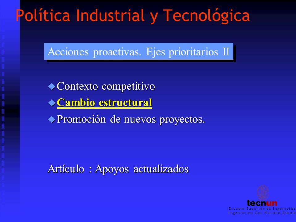 Política Industrial y Tecnológica u Contexto competitivo u Cambio estructural u Promoción de nuevos proyectos. Artículo : Apoyos actualizados Acciones
