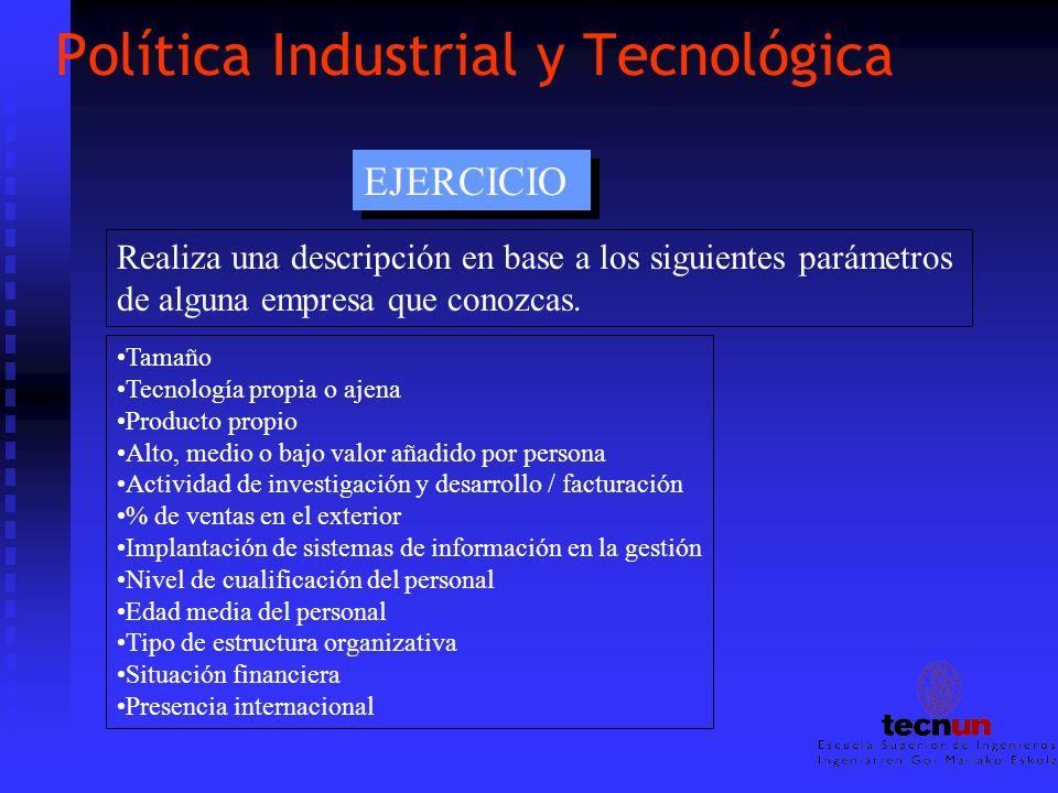Política Industrial y Tecnológica EJERCICIO Realiza una descripción en base a los siguientes parámetros de alguna empresa que conozcas. Tamaño Tecnolo