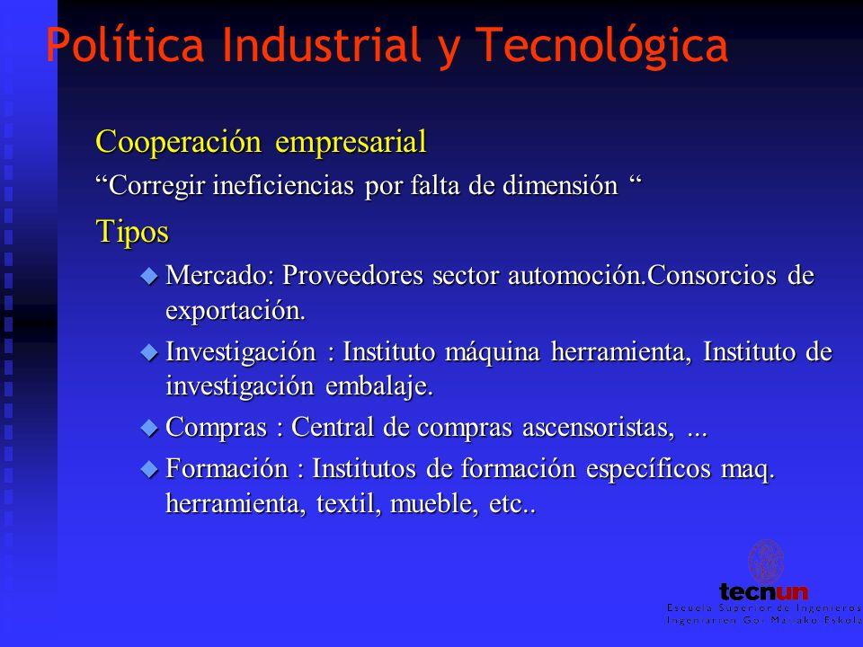 Política Industrial y Tecnológica Cooperación empresarial Corregir ineficiencias por falta de dimensión Corregir ineficiencias por falta de dimensión