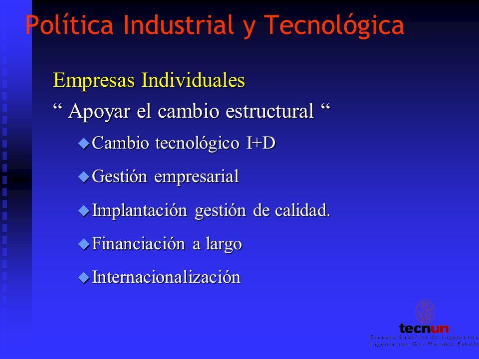 Política Industrial y Tecnológica Empresas Individuales Apoyar el cambio estructural Apoyar el cambio estructural u Cambio tecnológico I+D u Gestión e