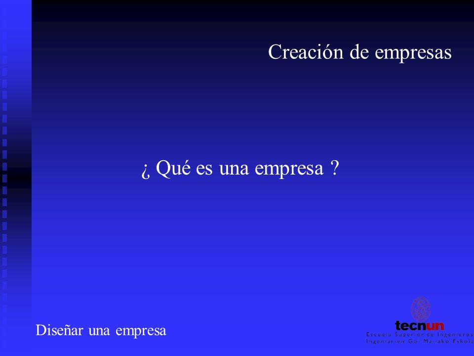Creación de empresas ¿ Qué es una empresa ? Diseñar una empresa