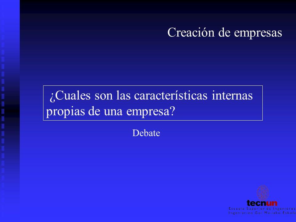 Creación de empresas ¿Cuales son las características internas propias de una empresa? Debate