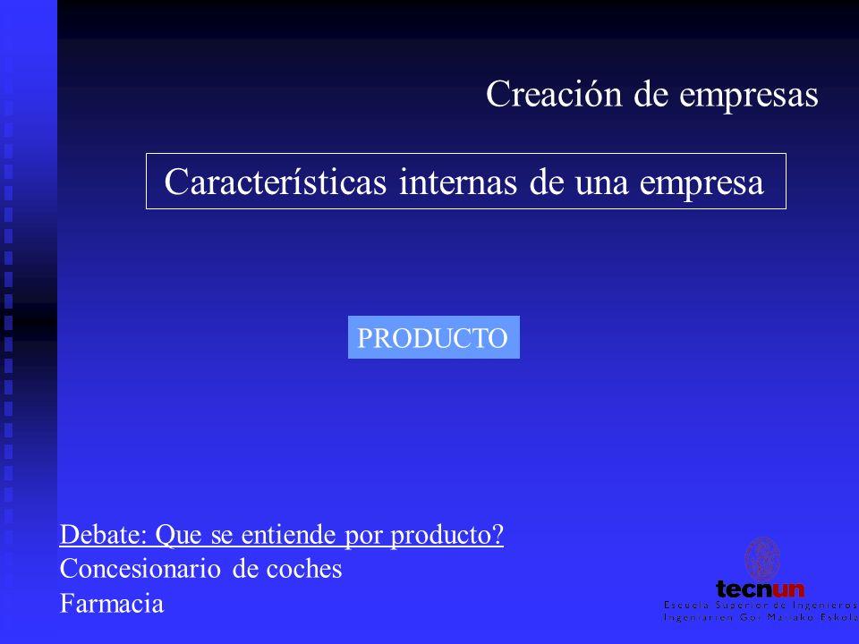 Creación de empresas Características internas de una empresa PRODUCTO Debate: Que se entiende por producto? Concesionario de coches Farmacia