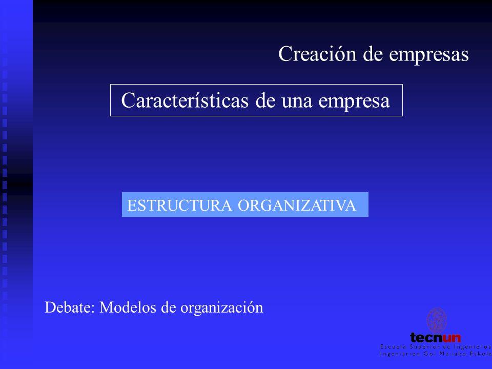 Creación de empresas Características de una empresa ESTRUCTURA ORGANIZATIVA Debate: Modelos de organización