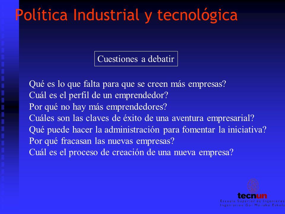 Política Industrial y tecnológica Qué es lo que falta para que se creen más empresas? Cuál es el perfil de un emprendedor? Por qué no hay más emprende