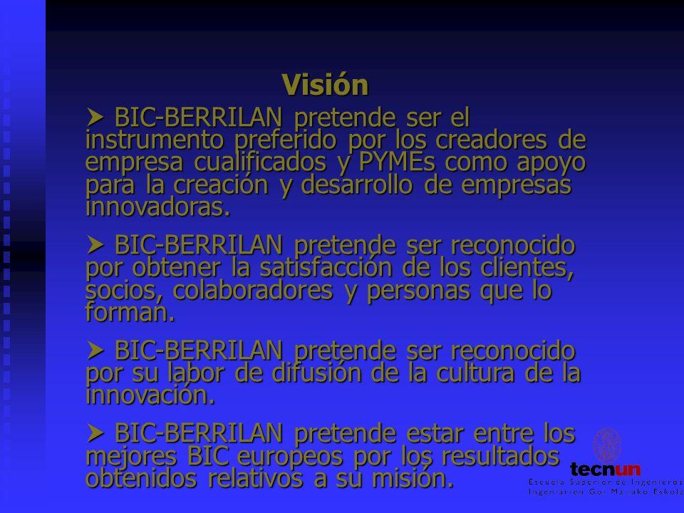 Visión BIC-BERRILAN pretende ser el instrumento preferido por los creadores de empresa cualificados y PYMEs como apoyo para la creación y desarrollo d