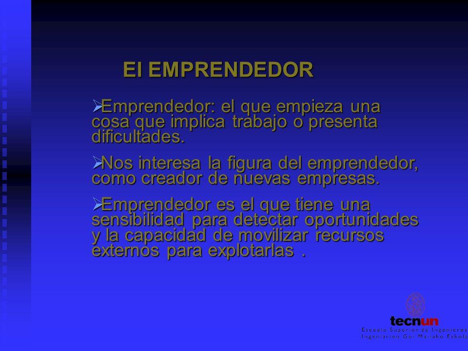 El EMPRENDEDOR El EMPRENDEDOR Emprendedor: el que empieza una cosa que implica trabajo o presenta dificultades. Emprendedor: el que empieza una cosa q