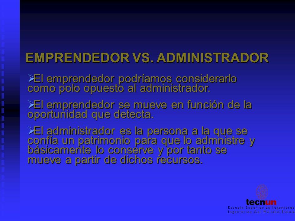 EMPRENDEDOR VS. ADMINISTRADOR El emprendedor podríamos considerarlo como polo opuesto al administrador. El emprendedor podríamos considerarlo como pol
