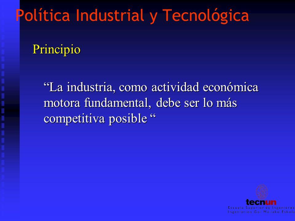 Política Industrial y Tecnológica Principio La industria, como actividad económica motora fundamental, debe ser lo más competitiva posible La industri