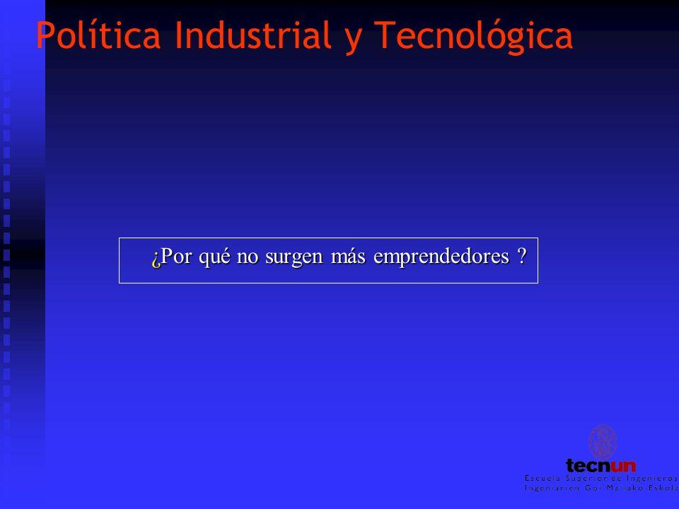 Política Industrial y Tecnológica ¿Por qué no surgen más emprendedores ?
