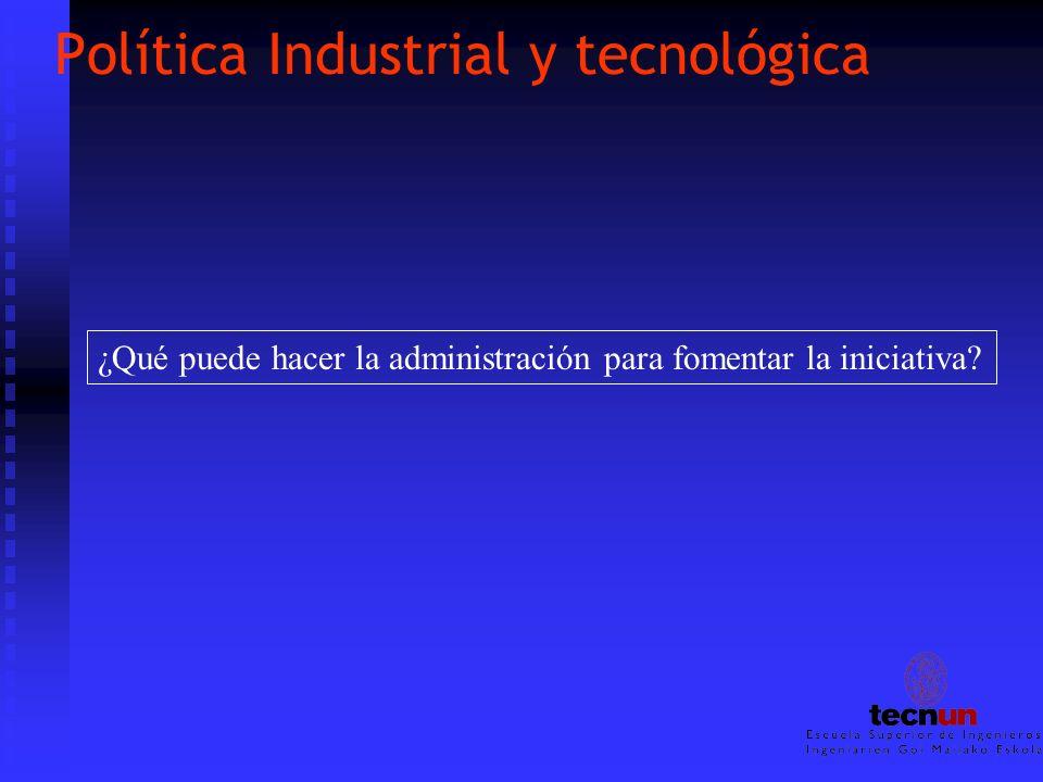 Política Industrial y tecnológica ¿Qué puede hacer la administración para fomentar la iniciativa?