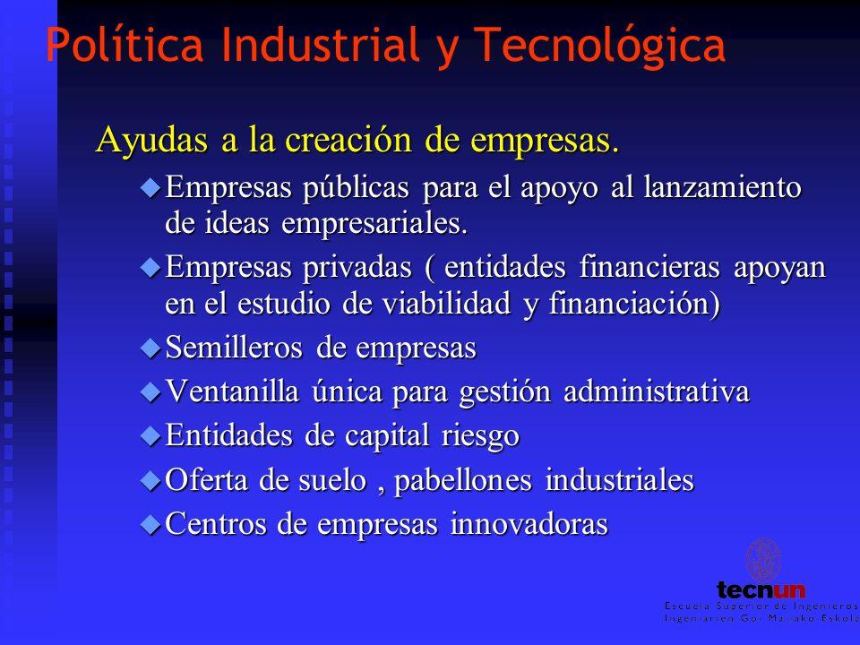 Política Industrial y Tecnológica Ayudas a la creación de empresas. u Empresas públicas para el apoyo al lanzamiento de ideas empresariales. u Empresa