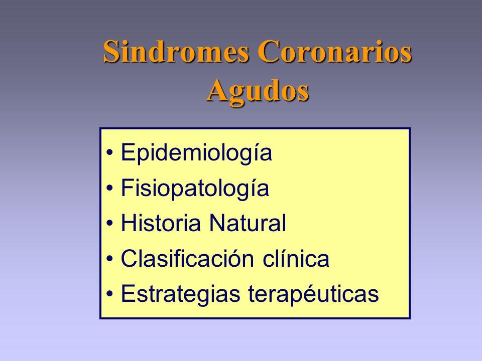 Epidemiología Fisiopatología Historia Natural Clasificación clínica Estrategias terapéuticas Sindromes Coronarios Agudos