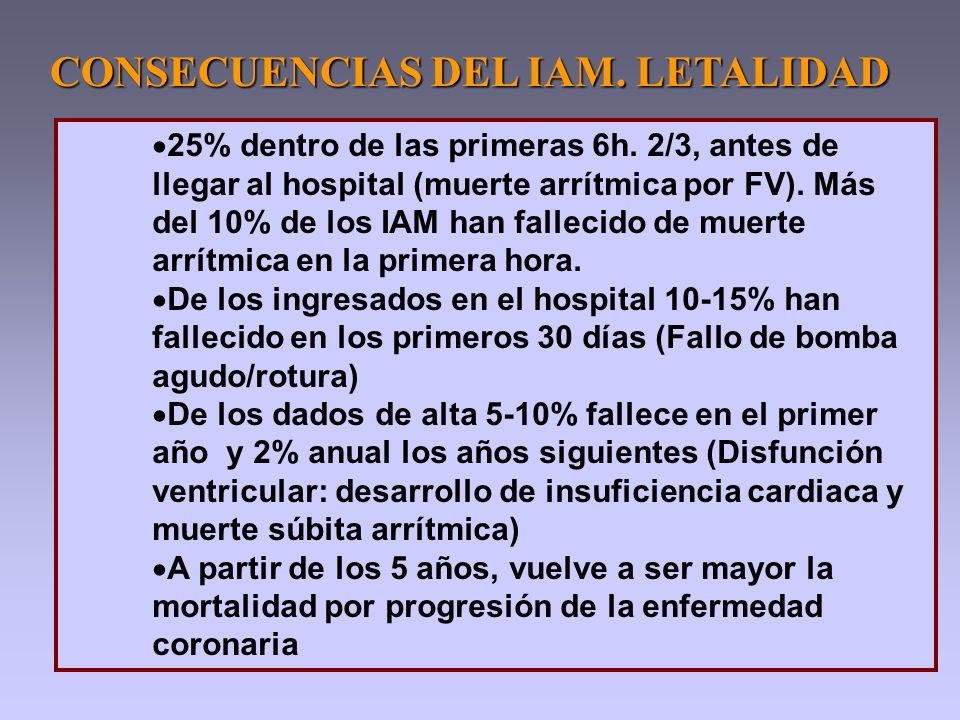 25% dentro de las primeras 6h. 2/3, antes de llegar al hospital (muerte arrítmica por FV). Más del 10% de los IAM han fallecido de muerte arrítmica en