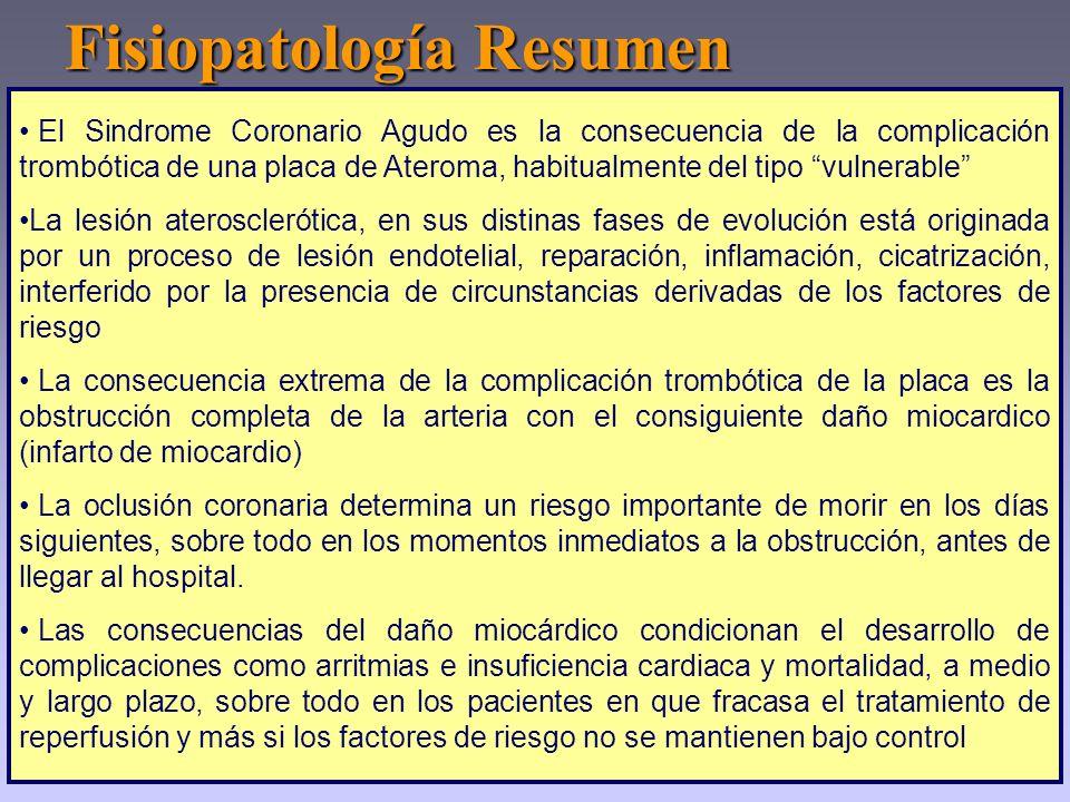El Sindrome Coronario Agudo es la consecuencia de la complicación trombótica de una placa de Ateroma, habitualmente del tipo vulnerable La lesión ater