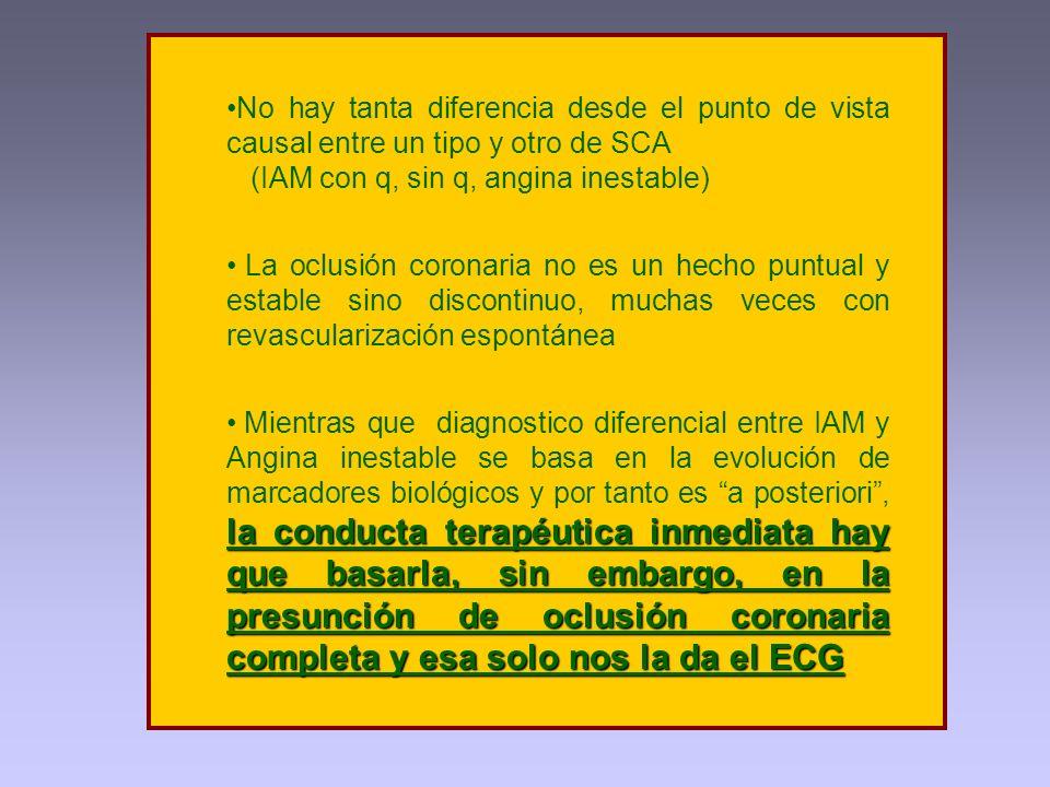 No hay tanta diferencia desde el punto de vista causal entre un tipo y otro de SCA (IAM con q, sin q, angina inestable) La oclusión coronaria no es un