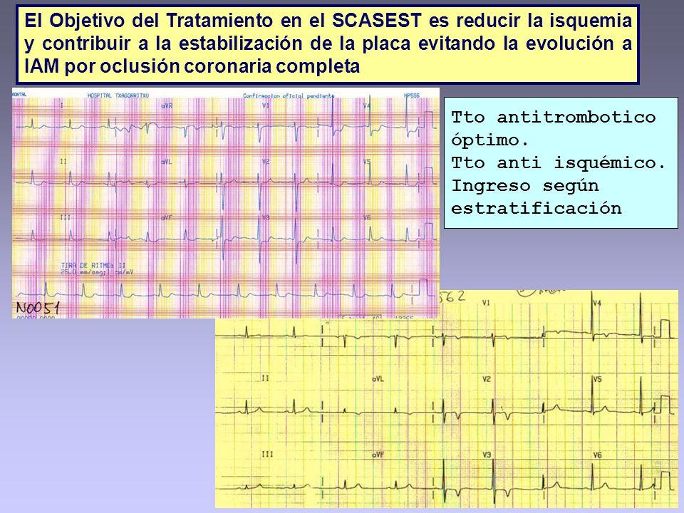 El Objetivo del Tratamiento en el SCASEST es reducir la isquemia y contribuir a la estabilización de la placa evitando la evolución a IAM por oclusión