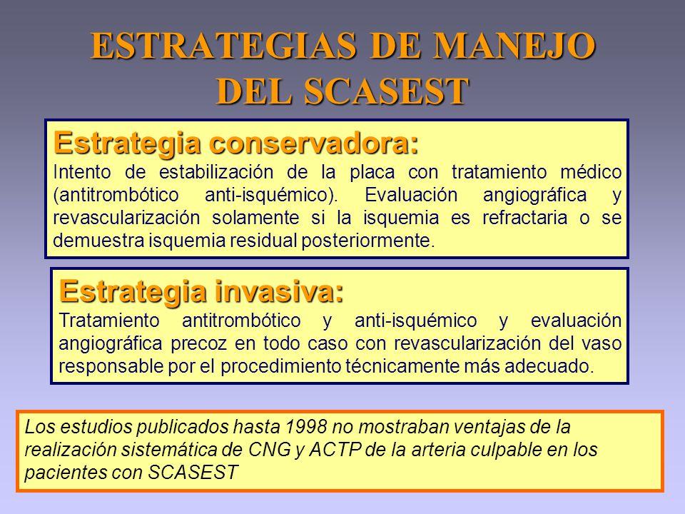 ESTRATEGIAS DE MANEJO DEL SCASEST Estrategia invasiva: Tratamiento antitrombótico y anti-isquémico y evaluación angiográfica precoz en todo caso con r