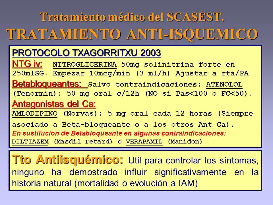 Tratamiento médico del SCASEST. TRATAMIENTO ANTI-ISQUEMICO PROTOCOLO TXAGORRITXU 2003 NTG iv: NTG iv: NITROGLICERINA 50mg solinitrina forte en 250mlSG