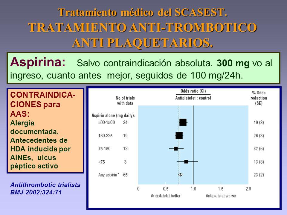 Aspirina: Salvo contraindicación absoluta. 300 mg vo al ingreso, cuanto antes mejor, seguidos de 100 mg/24h. Tratamiento médico del SCASEST. TRATAMIEN